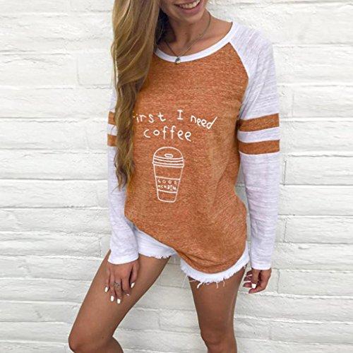 Unita Donna Tops Autunno Felpa Tinta Occhiali Top Felpe Beauty Maglietta Cappotto Giacca Lunga Manica Gli arancia Collo Felpa Cappotti O Uwqdwa