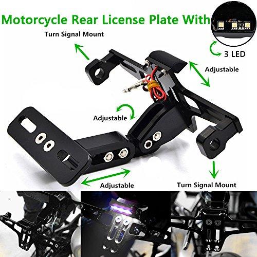 Lisyline Motorcycle Universal Adjustable License Plate Tag Holder Led Tail Light Bracket for Honda Kawasaki Suzuki Yamaha KTM
