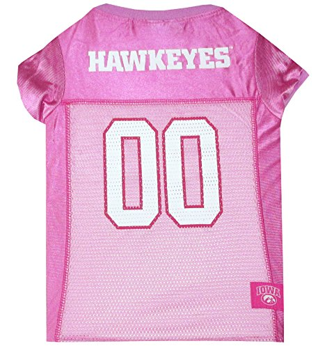 NCAA Iowa Hawkeyes Dog Pink Jersey, X-Small. - Pet Pink Outfit.