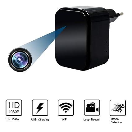 Camara Espia Oculta WiFi Cargador USB 1080P HD Cargador con Cámara TANGMI Detección de Movimiento Cámara