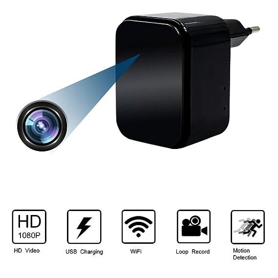 Camara Espia Oculta WiFi Cargador USB 1080P HD Cargador con Cámara TANGMI Detección de Movimiento Cámara de Seguridad Secreta Control App: Amazon.es: ...