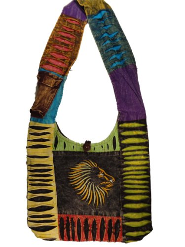 Boehmian Rasta Lion Crossbody or Shoulder Purse Handmade in Nepal Fair Trade By Ragged Ends, Bags Central