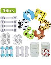 LENBEST 48 Pcs Kit de Seguridad para Bebés (8 Protectores de Esquina de Silicona, 24×Protector de enchufe, 10 Bebé de Seguridad Bloqueo, 6×Tarjeta de la puerta de la espuma)