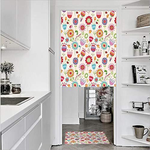 3D Printed Linen Textured French 1 Panel Door Curtains and 1pcs Doormat Kitchen Mat Rug,Ladybug Strawberry Bird Caterpillar VibrantSingle Panel door curtain 29.5
