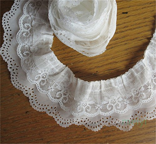 5y 3-Layer Pleated Organza Lace Edge Ribbon Gathered Mesh Chiffon Ruffle Trim 65mm Width (White)