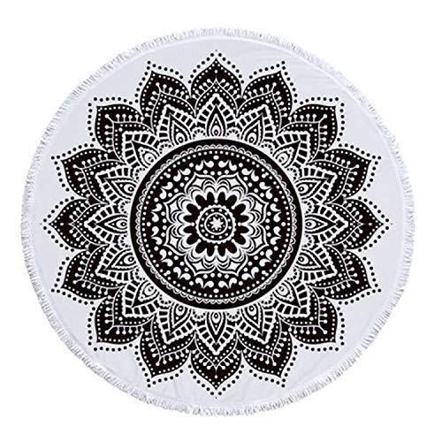 (150cm Tassel Giant Beach Blanket Picnic Camping Mat Round Sand Beach Towel Printed Tablecloth Pad Calico Women Shawl Mattress,1,460g)