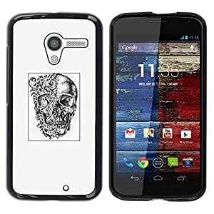 Caucho caso de Shell duro de la cubierta de accesorios de protección BY RAYDREAMMM - Motorola Moto X 1 1st GEN I XT1058 XT1053 XT1052 XT1056 XT1060 XT1055 - Art Drawing Tattoo Black White&quo