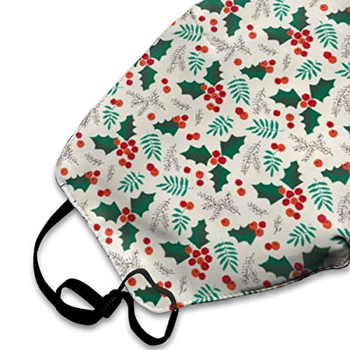 NOT Christmas Holly and Berries Personality Lovely Unisex Dust Mask, Suitable for Young Men and Women, Ski Bike Camping Windproof Motorcycle Face Mask