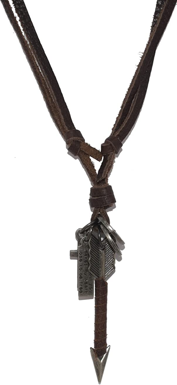 Making up Retro Arrow Pendant Black Brown Leather Chain Necklace, Adjustable 17-33''+3.9''