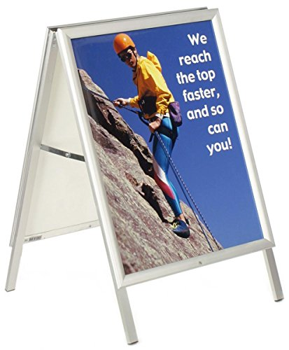 Displays2go Aluminum A-Frame Sign with Snap-Open Edging, Holds 22 x 28 Inches Graphics, Double-Sided - Silver ()