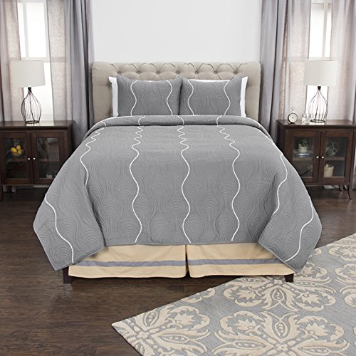 Rizzy Home Andrew Charles Collection Vertical Stripe Ozee Machine Quilted Pompom Quilt, King, Grey