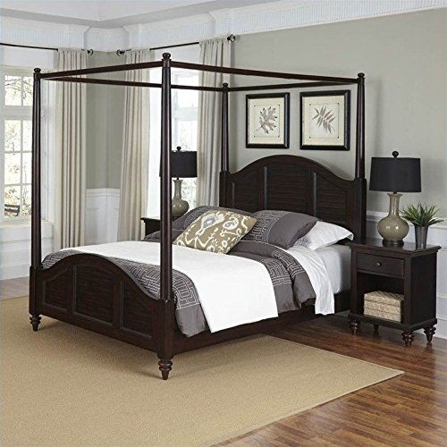 Bermuda Canopy Bed and Two Night Stands (Solid Wood King Size Bedroom Set)