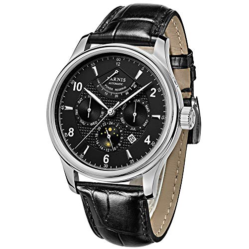 Parnis 42mm Black Dial Power Reserve Moon Phase Multiple Function Miyota 9100 Automatic Movement Men's Watch
