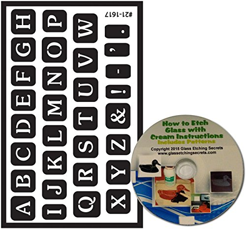 Full Alphabet Stencil Letters for Glass Etching or Painting, Reusable + Free How to Etch (Glass Etching Paint)