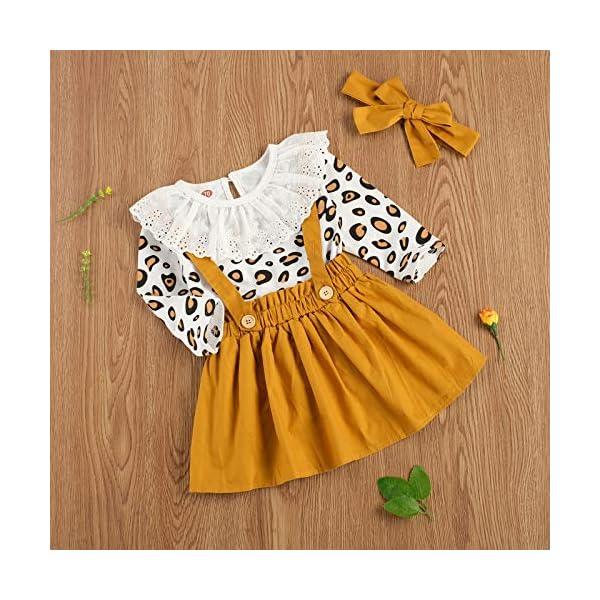 Carolilly 3 Pezzi Completo Bambina Stampa Leopardato Pagliccetto a Manica Lunga in Pizzo+Vestito Bambina Principessa… 3