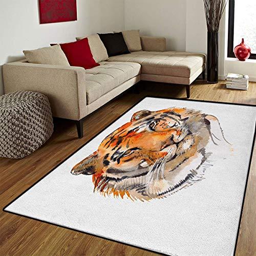 Tiger,Floor Mat for Kids,Feline Animal with Calming Stare Hand Drawn Watercolor Art Exotic Wildcat Hunter,Bath Mat for tub Bathroom Mat,Orange Black,4x5 ()