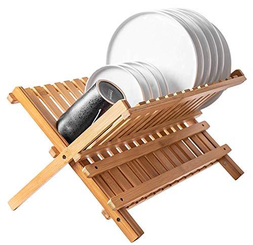 Bellemain Folding Bamboo Dish Drying Rack (Wood Dish Dry Rack)