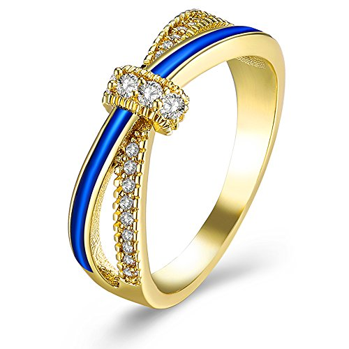 (Blue Crystal Twisted Wedding Band Engagement Ring Celtic Infinity Knot Bridal Jewelry Set)