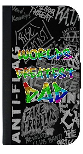 World's Greatest Dad - Colorful Grafitti Letters Punk Style TM Leather and Suede Look Passport Cover with Double-Sided Design Made in the USA