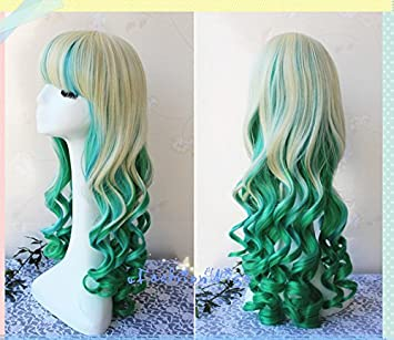 Amazon.com : 75cm Long Ombre Green Color Beautiful Lolita Cosplay Wig, Costume Wigs for Party UF036 : Beauty