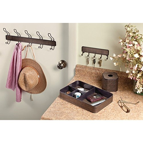 60%OFF InterDesign Twillo Wall Mount Entryway Storage Rack for Jackets, Coats, Hats, Scarves - 5 Hooks, Bronze