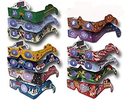 22 Pairs 3D XMAS Glasses - 13 Different Styles - Exclusive Jingle Bells - Each Folded in a Reusable Sleeve - Holiday Eyes(TM)