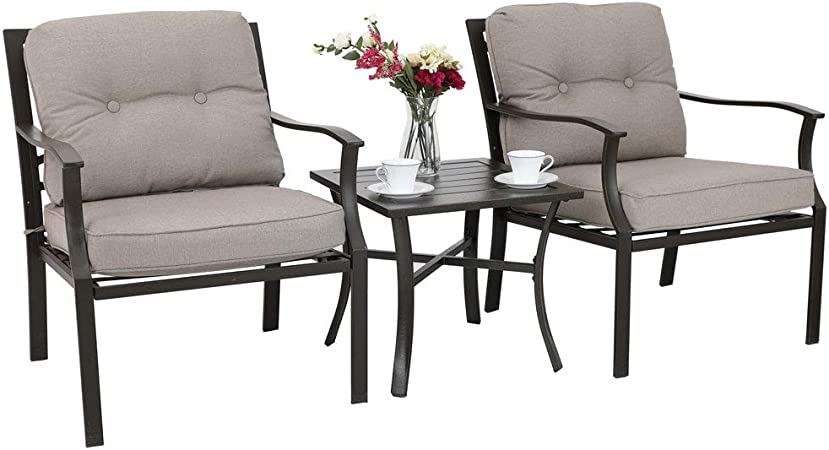 Brown Homewell 3pc Wicker Patio Furniture Set Cushioned Chairs /& Table Lounge