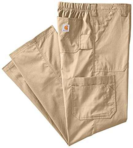 Carhartt Men's Tall Ripstop Multi-Cargo Scrub Pant, Khaki, XX-Large - Elastic Cargo Scrub Pants