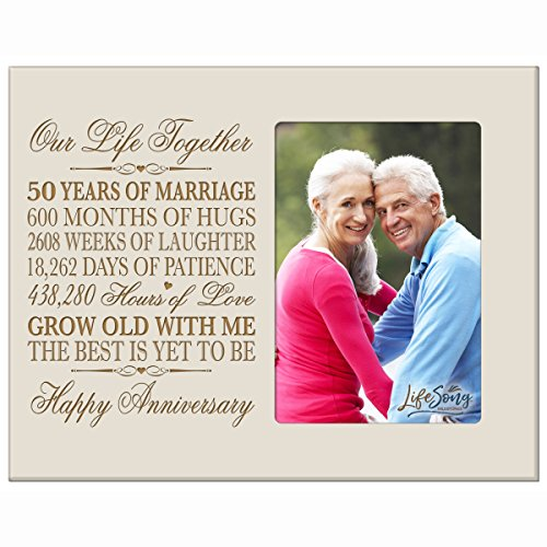 50th Year Wedding Anniversary Gift for Couple Custom engraved Wedding Anniversary Gift Celebration Frame Holds 1 4x6 Photo 8'' H X 10'' W (Ivory) by LifeSong Milestones