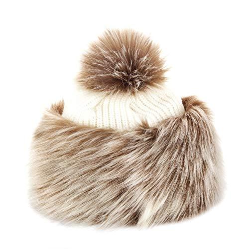 Futrzane Faux Fox Fur Winter Tatars Hat for Women Cossack Pompom Ski (Brown with White) (Trim Fox Fur Hat)