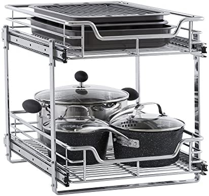 """51ostk6v9HL. AC Household Essentials C21521-1 Glidez Dual 2-Tier Sliding Cabinet Organizer, 14.5"""" Wide, Chrome    This sliding under cabinet organizer has 2 independently sliding tiers and is 14.5""""W x 21""""D x 15.5""""H. Household Essentials glidez dual slide under cabinet sliding organizers attach to the bottom of kitchen and bathroom cabinets to quickly bring the back of the cabinet in reach. Their 2-tier of baskets slide in and out of the cabinet independently, making the bottom basket easier than ever to get into. These industrial organizers are made from premium chromed steel, with thicker, stronger wire than the competition. The sturdy vertical glides 2 inches tall and support up to 88 lbs. Glidez organizers create a custom kitchen with organization that fits your cabinets' width, depth, and height. Organizers slide all the way out of the cabinet, clearing the door completely when installed as directed. This means less bending and reaching to get to whatever you store in your cabinets. Perfect for kitchen storage, bathroom, storage, and even closets and pantries (glidez organizers can attach to commercial shelving with cb2000-6 brackets, sold separately) tailor your cabinet space and bring the back of the cabinet to you with glidez under cabinet storage and organization. Dual slide glidez under cabinet organizers are 15.5 inches high and 21 inches deep. They are available in 11.5 and 14.5 inch wide options."""