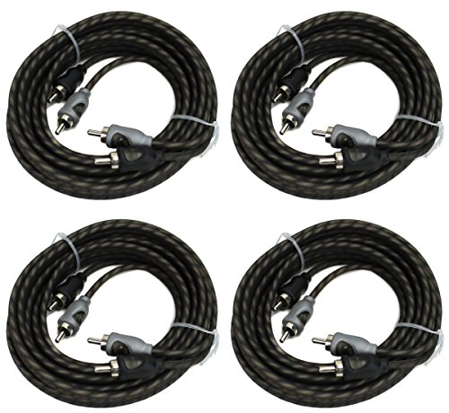 4) Rockford Fosgate RFI-16 16' Ft Twisted 2 Ch RCA Car Audio Signal Cables RFI16 ()
