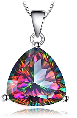 Exclusive Oval Shaped Rainbow Mystic Fire Topaz Gems Silver Necklace Pendants