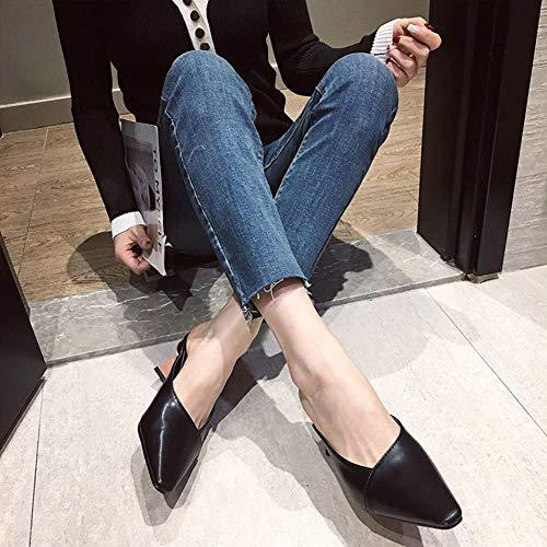 Mujer Antideslizante Metal Sandalias Tacón Durable Grueso De Zapatillas Cuadrada Zapatos Verano Esférico Cabeza Black Respirable Alto Talon qEx7gx5n