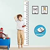 Baby Growth Chart Kids Height Chart Ruler VAGREEZ Roll-up Canvas Measuring Chart Wall Décor with Wood Frames for Baby Kids Room Derocation- 76''X7.9'' (with Free Hook)