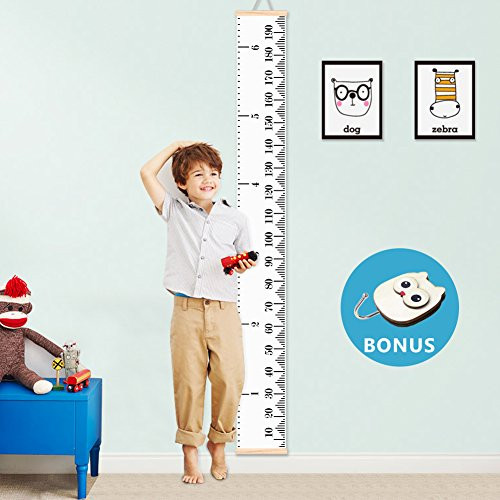 Baby Growth Chart Kids Height Chart Ruler VAGREEZ Roll-up Canvas Measuring Chart Wall Décor with Wood Frames for Baby Kids Room Derocation- 76''X7.9'' (with Free Hook) (Decor Children Wall Wood)