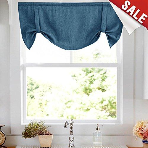 Tie-up Valances for Windows Tie Up Valances for Kitchen Windows Flax Linen Textured Room Darkening Tie Up Shade Window Curtain (1 Panel,Denim Blue, 20 Inches Long)