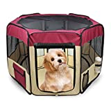 61'' Pet Dog Playpens, Jespet Portable Soft Dog Exercise Pen Kennel with Carry Bag for Puppy Cats Kittens Rabbits,Marnoon