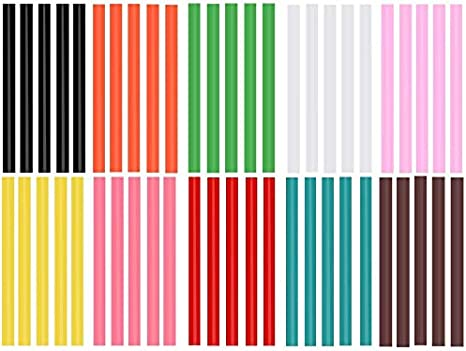Bâtons de colle chaude de couleur pour pistolet à colle chaude 50 pièces bâtons de pistolet à colle chaude colorés 10 couleurs bâtons de colle chaude colorés