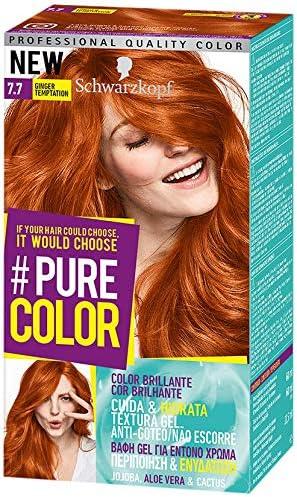 Pure Color de Schwarzkopf Tono 7.7 Ginger Temptation, Coloración Permamente