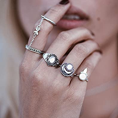 5pcs Crystal Rhinestone Pearl stack Plain Above Knuckle Band Finger Rings Gift