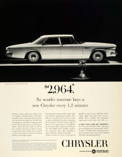 1963 Ad Silver V8 Vintage Four Door Chrysler Newport Sedan Sand Hourglass Price - Original Print - Silver Sands Hours