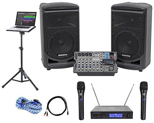 "Samson 8"" Portable YouTube Karaoke Machine/System+ Mics+Mixe"