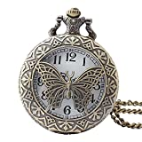 Shirleyle Creative Butterfly Carved Bronze Hollow Vintage Quartz Pocket Watch With Chain For Men Women