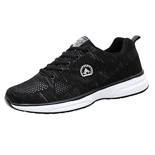 Delamode Hommes Respirant Net Chaussures Courir Badminton Sport Jogging Espadrilles Appropriées Noir