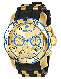 Invicta 17887 Watch Men's Pro Diver Blue-Accented and 18k Gold Ion-Plated Stainless Steel