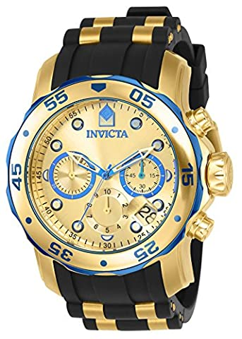 Invicta Men's 17887 Pro Diver Blue-Accented and 18k Gold Ion-Plated Stainless Steel Watch - Chronograph Synthetic Sapphire