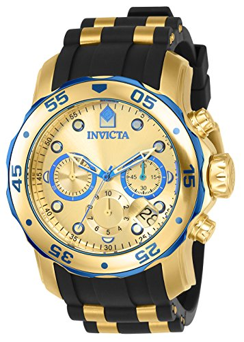 Invicta Men's 17887 Pro Diver Blue-Accented and 18k Gold Ion-Plated Stainless Steel Watch (Round Watch Plated)