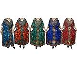 Mogul Wholesale 5 Pcs Lot Womens Caftan Evening Beach Cover Up Kaftan Maxi Dress