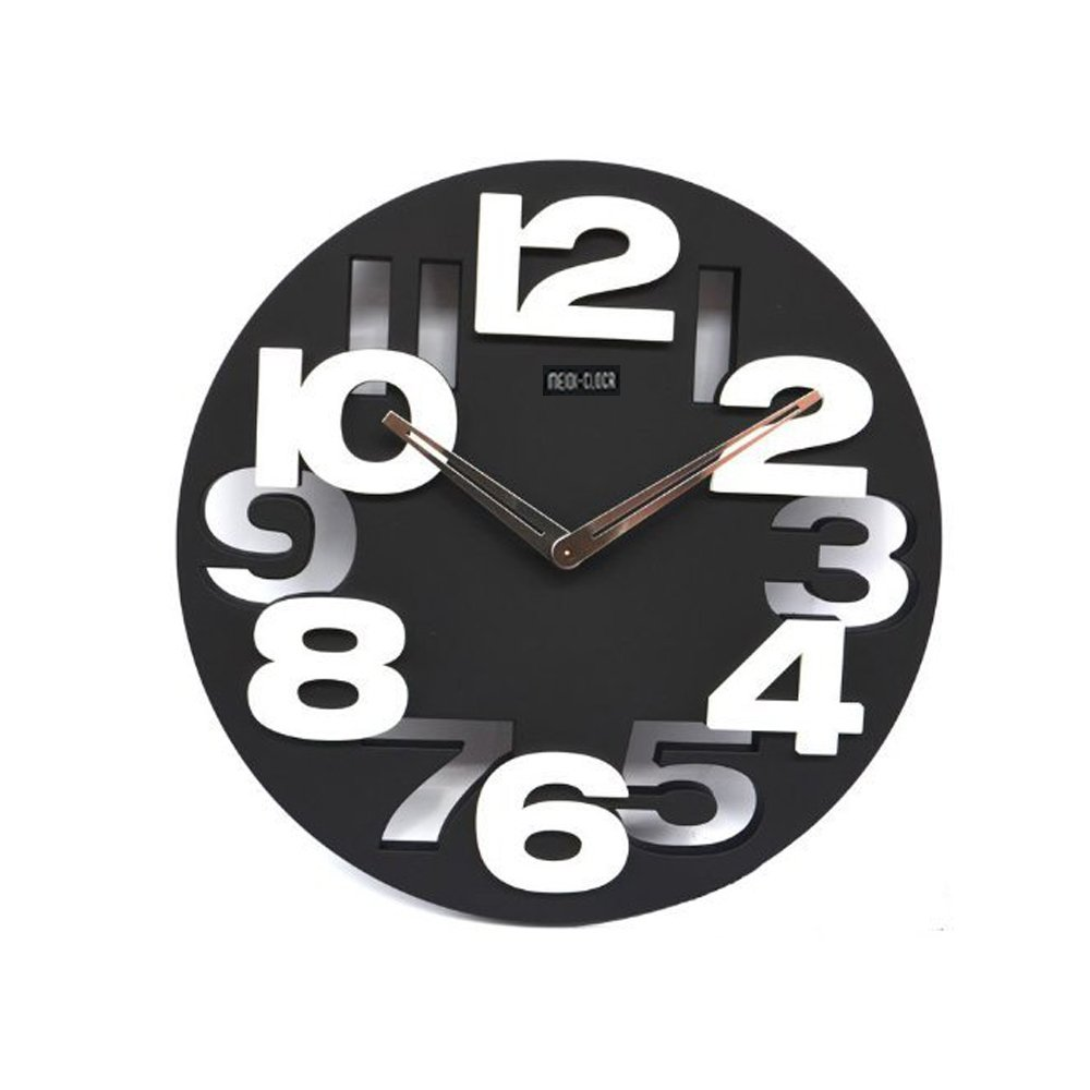 Xihaiying Unique Large Modern Black Wall Clock Non Ticking Battery